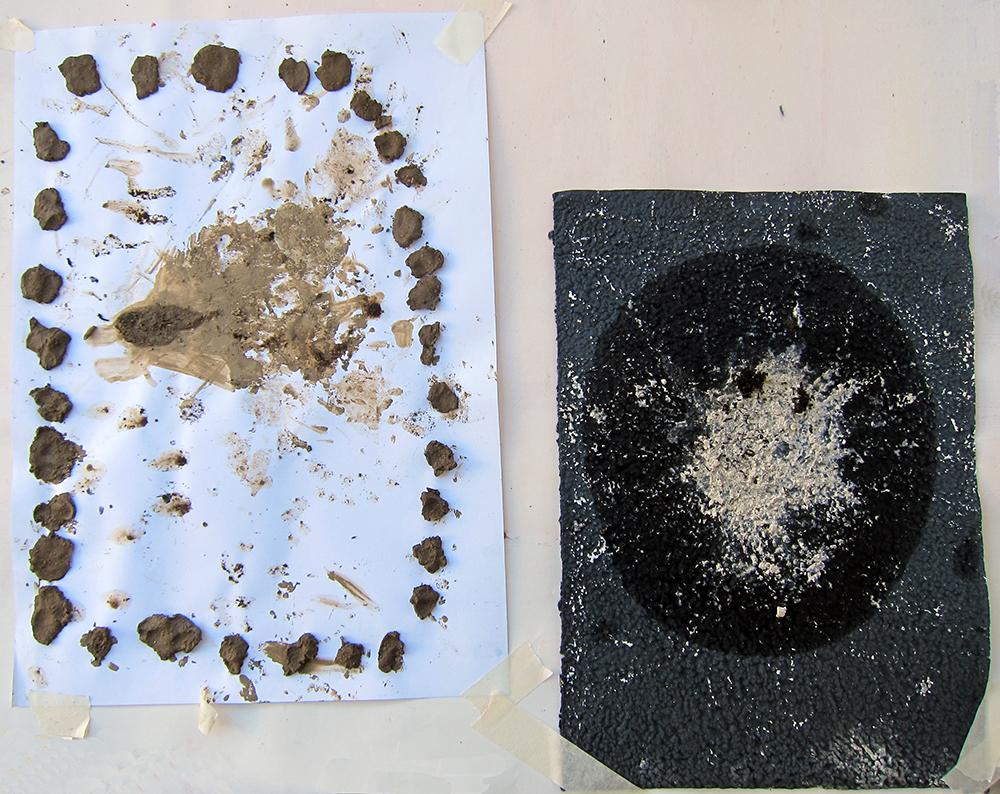 tekenen met zand, klei en koffie